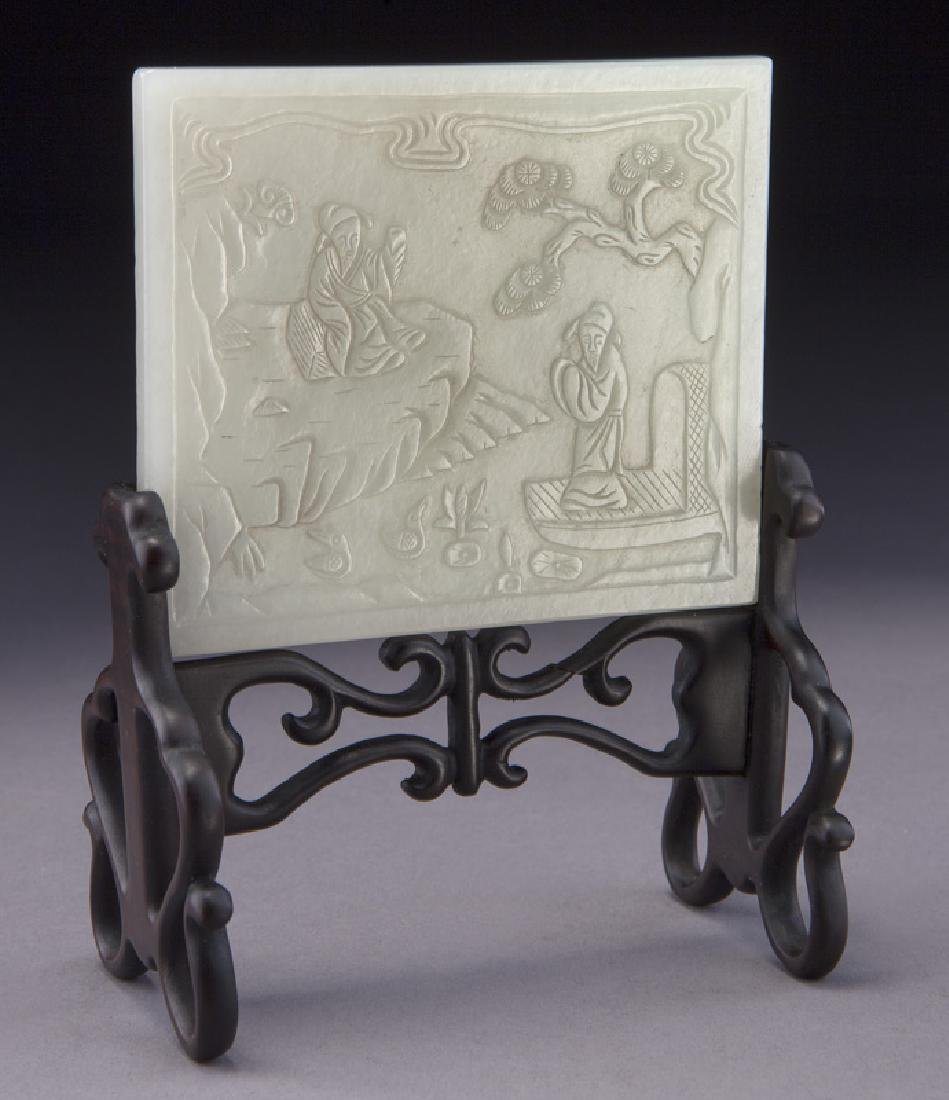 Small Chinese carved jade plaque