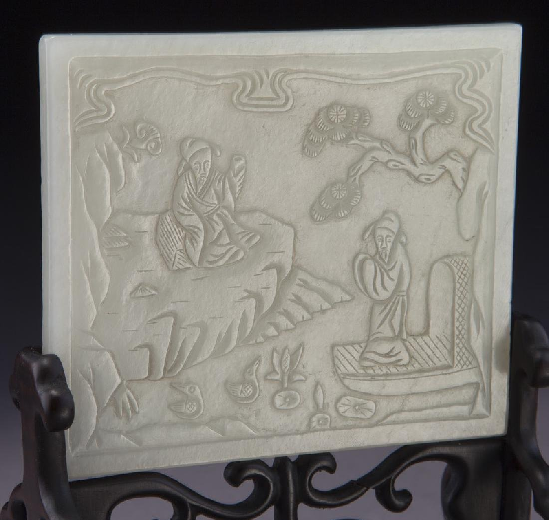 Small Chinese carved jade plaque - 5