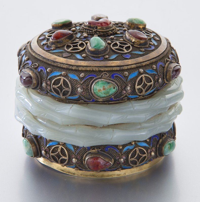 Chinese enamel over silver box