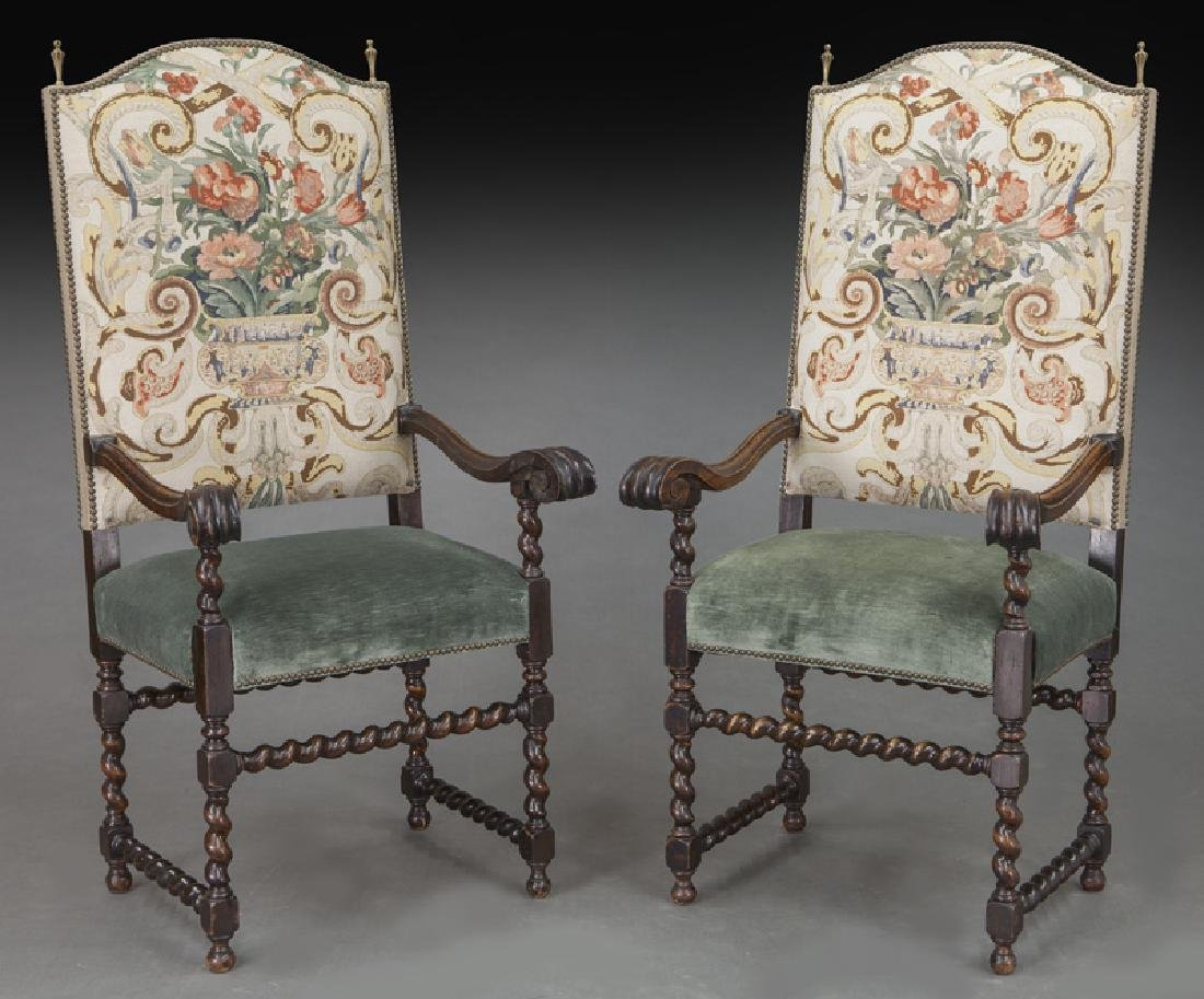 Pr. Continental carved walnut armchairs,
