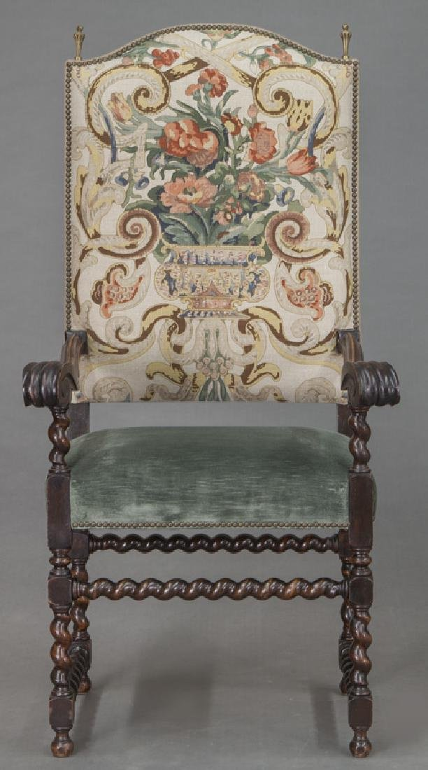 Pr. Continental carved walnut armchairs, - 3