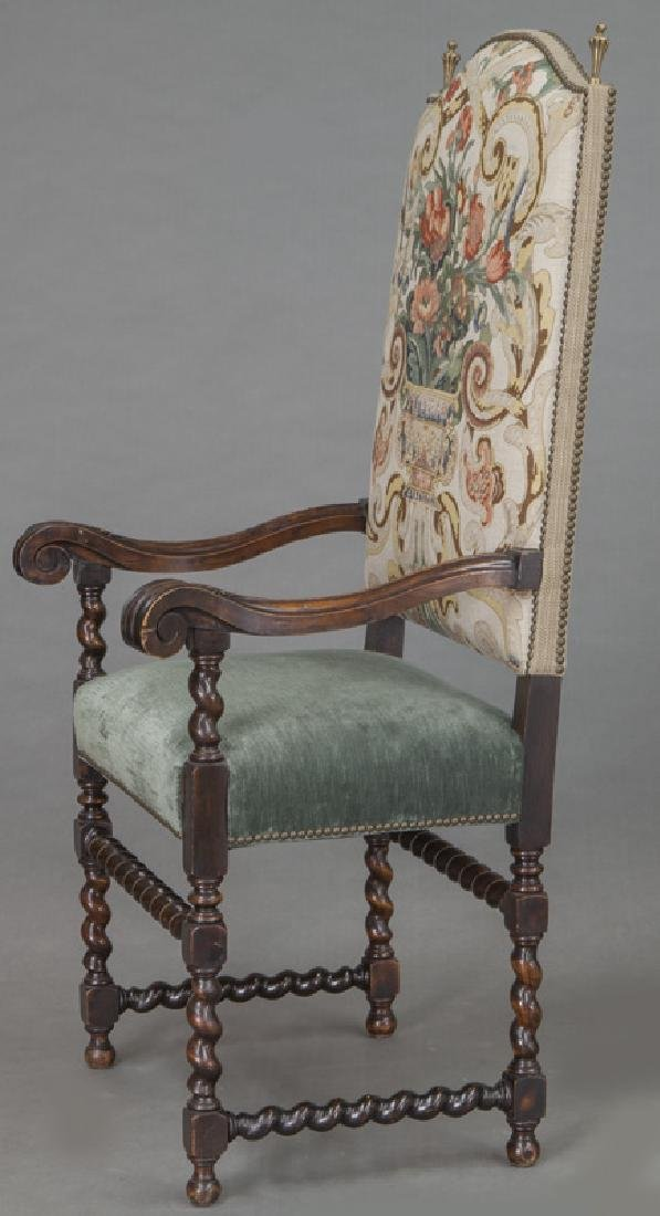 Pr. Continental carved walnut armchairs, - 4