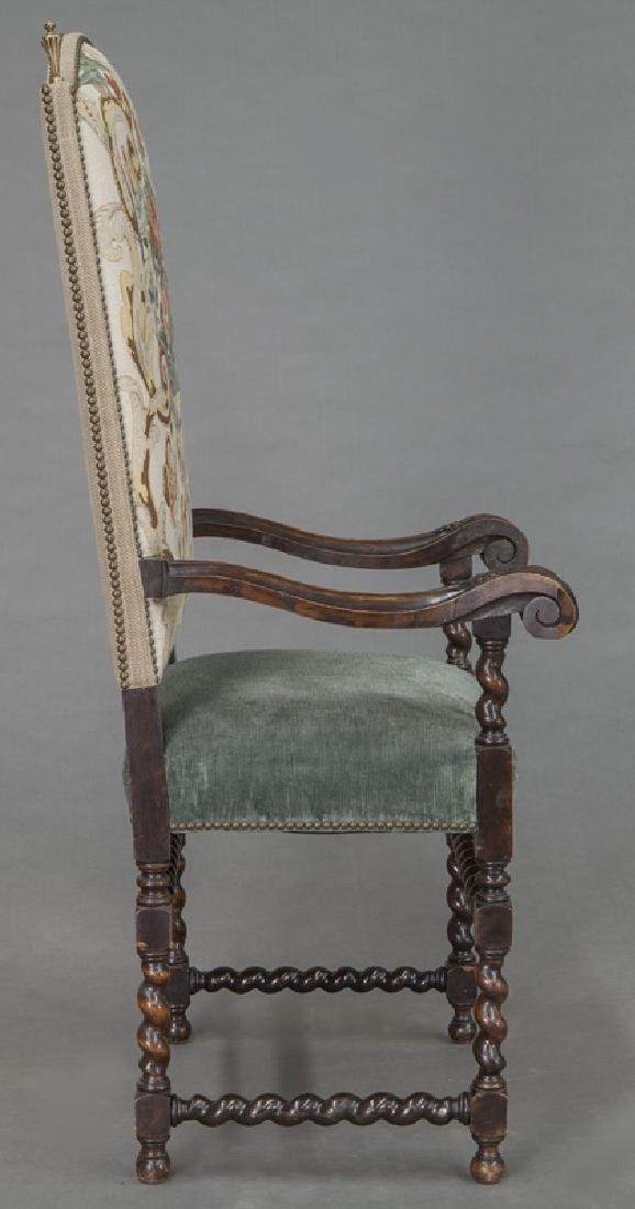 Pr. Continental carved walnut armchairs, - 6