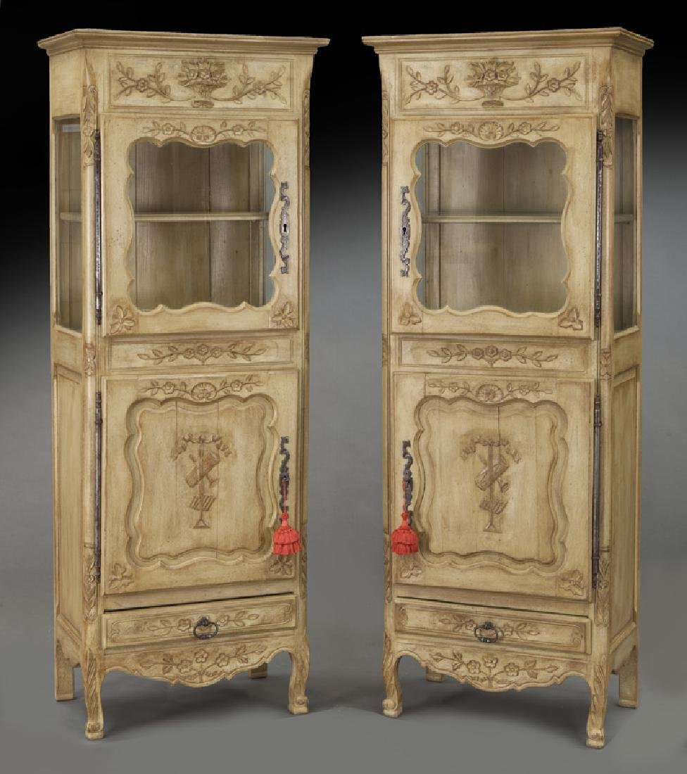 Pr. French carved and painted display cabinets