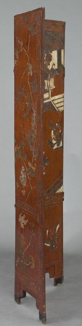 Set of Chinese Qing four panel polychromed - 10