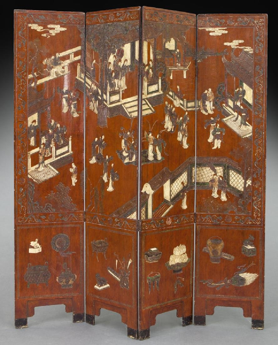Set of Chinese Qing four panel polychromed