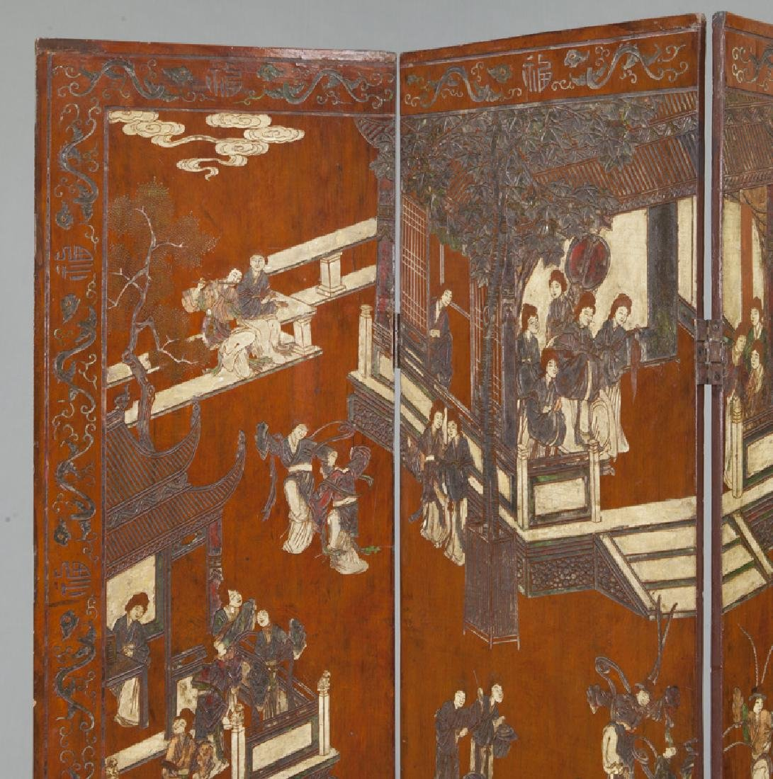 Set of Chinese Qing four panel polychromed - 2