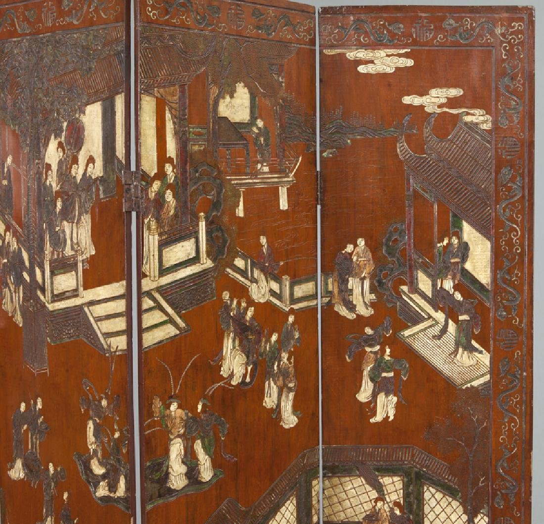 Set of Chinese Qing four panel polychromed - 3