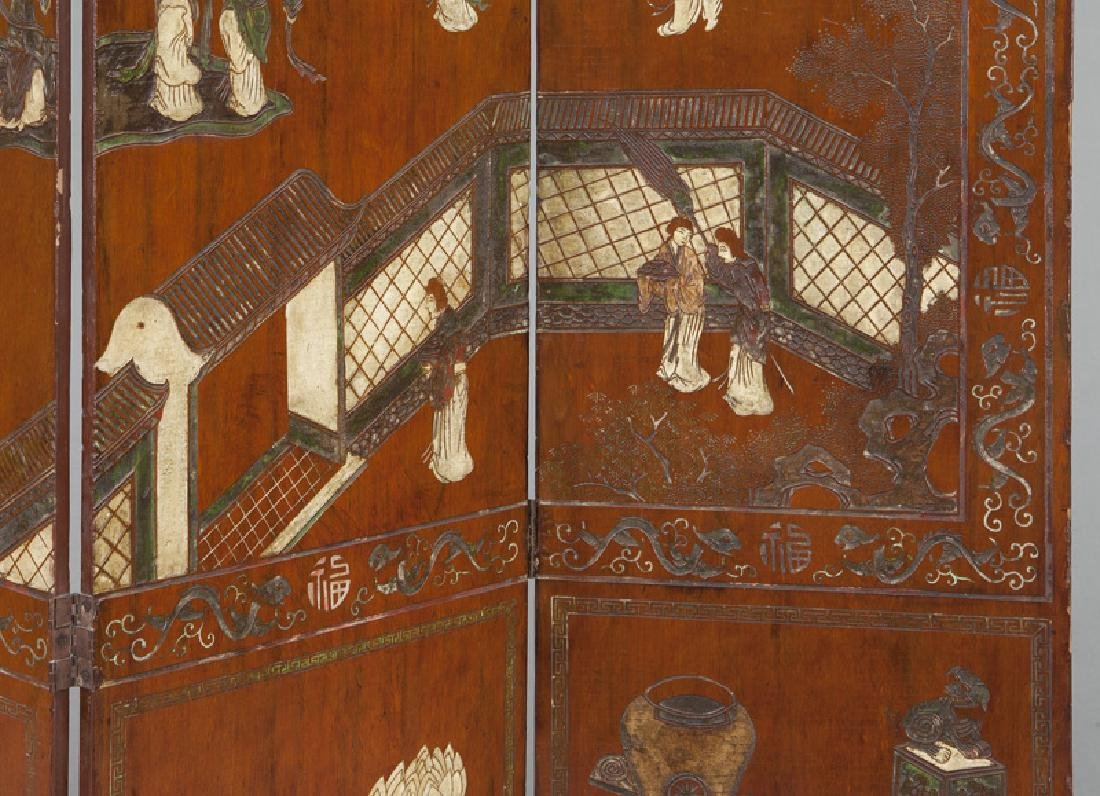Set of Chinese Qing four panel polychromed - 4
