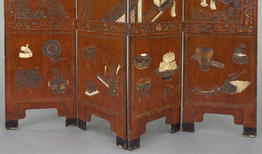 Set of Chinese Qing four panel polychromed - 5