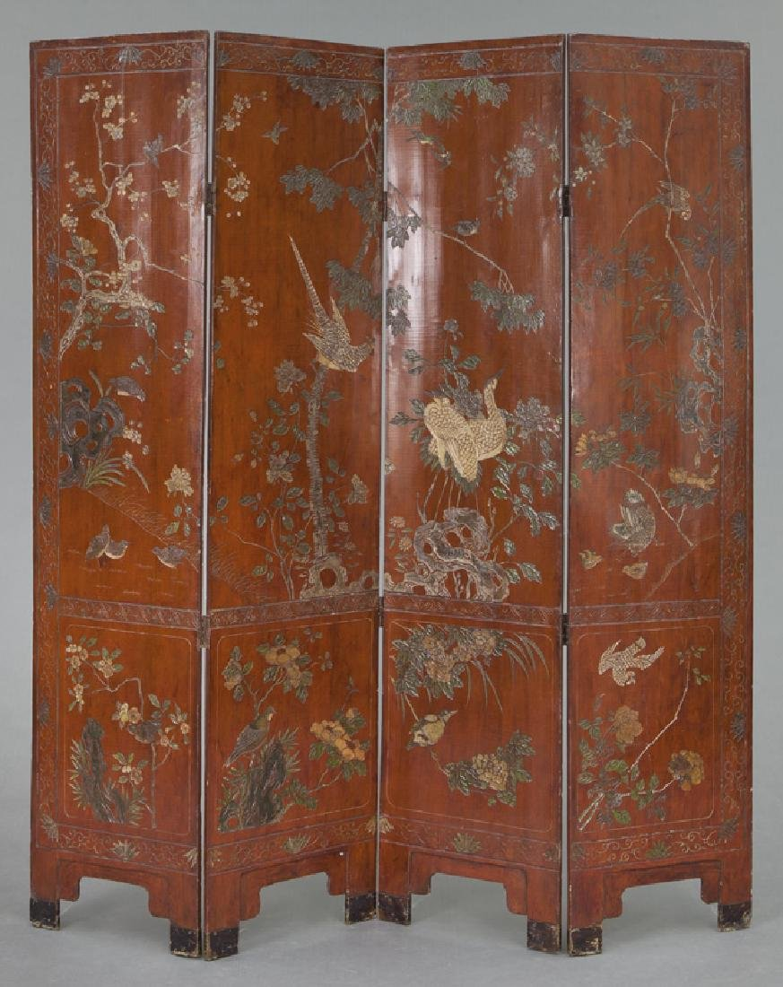 Set of Chinese Qing four panel polychromed - 6