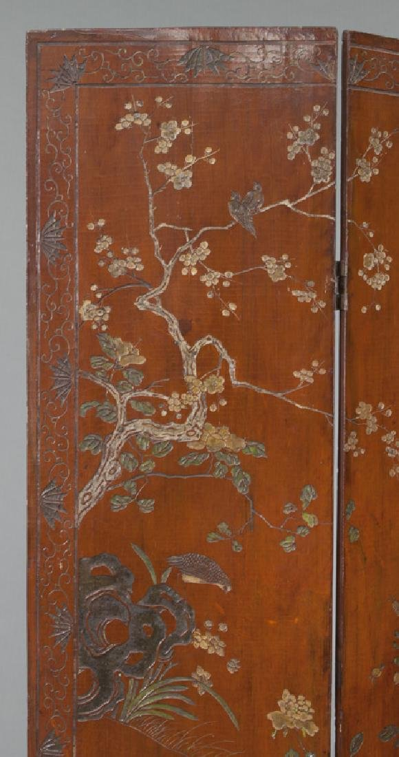 Set of Chinese Qing four panel polychromed - 7