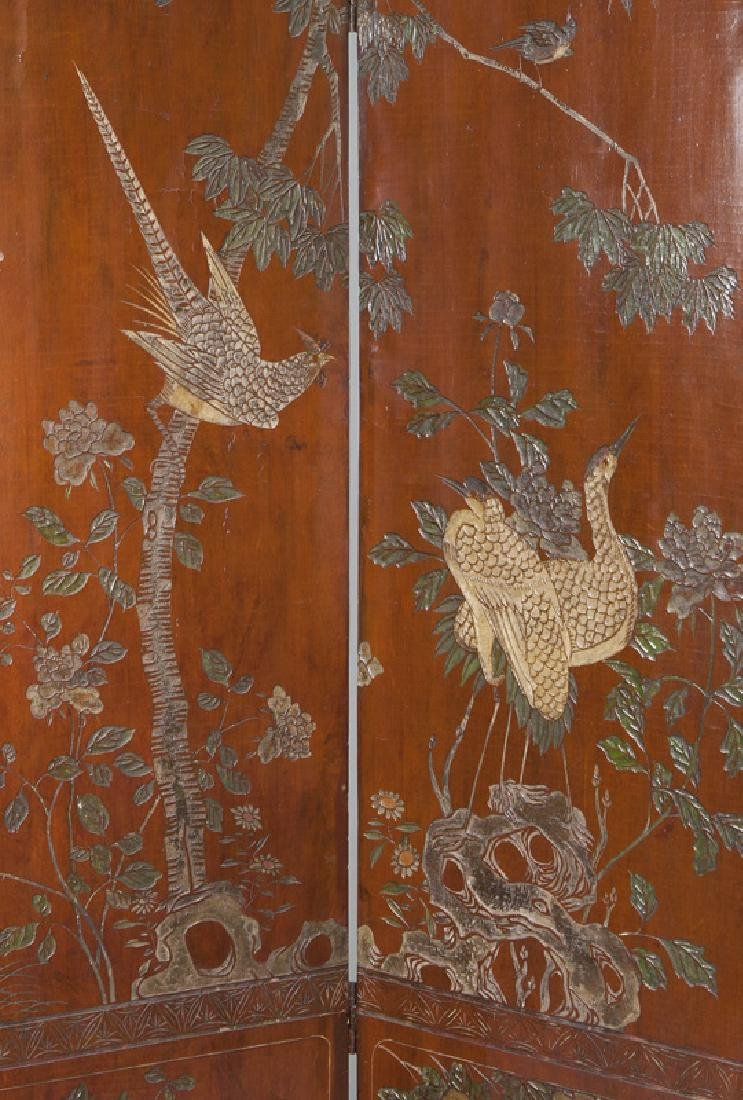 Set of Chinese Qing four panel polychromed - 8