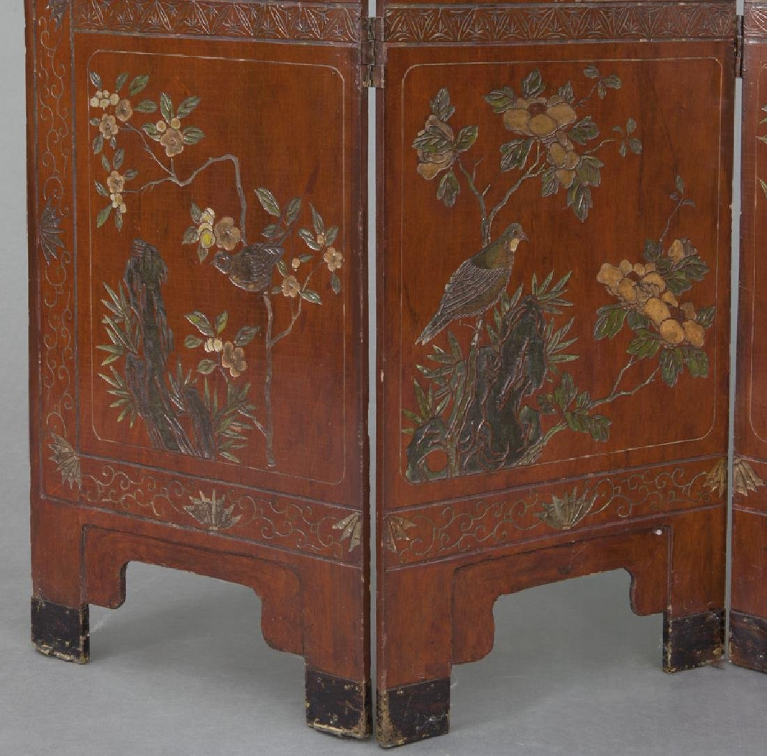 Set of Chinese Qing four panel polychromed - 9