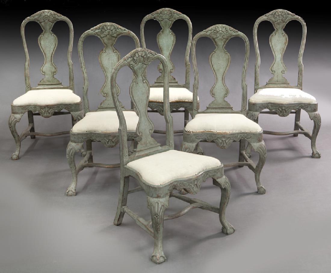 Set of (6) Swedish Gustavian style dining chairs