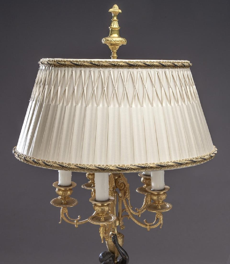 Pr. French patinated and gilt bronze candelabra - 2