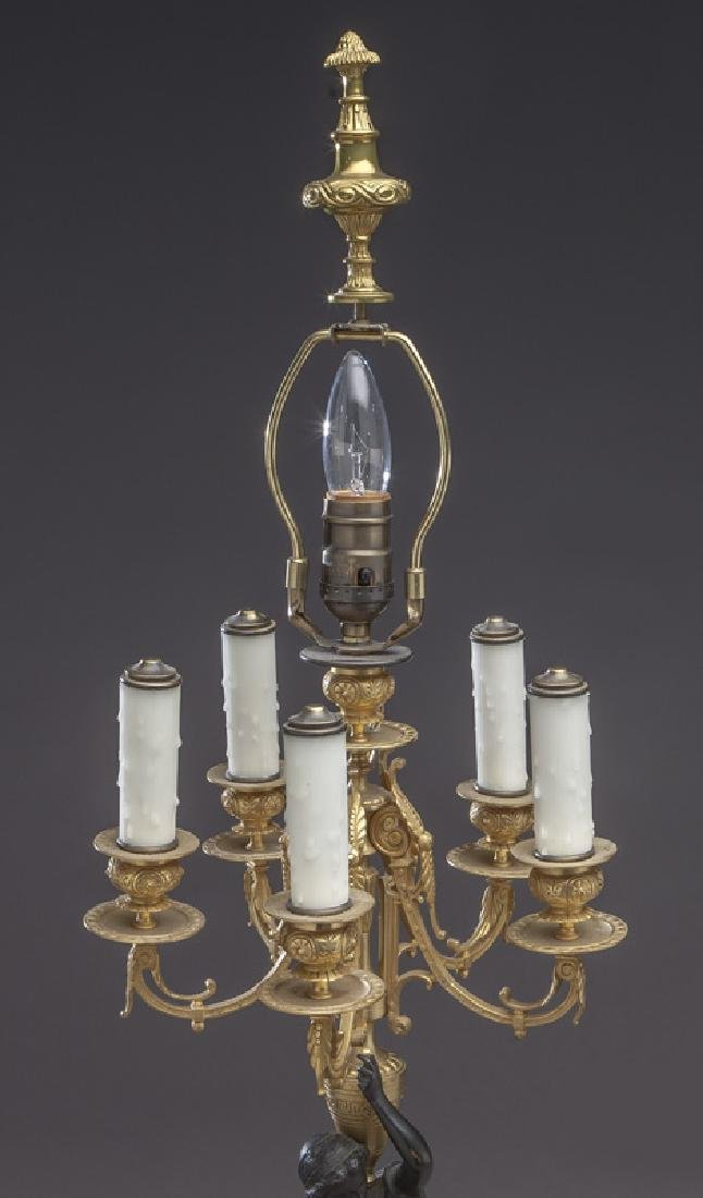 Pr. French patinated and gilt bronze candelabra - 3