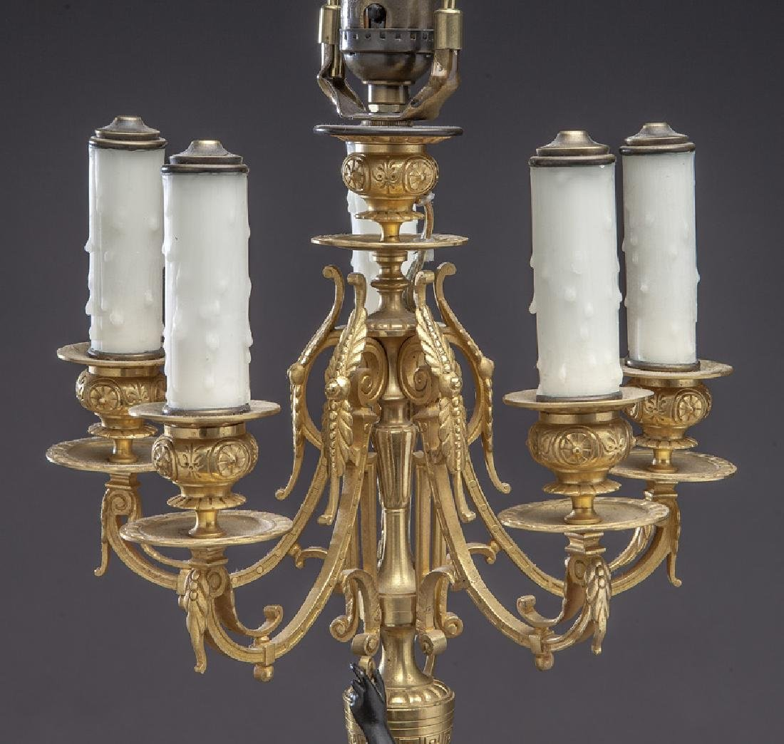 Pr. French patinated and gilt bronze candelabra - 6