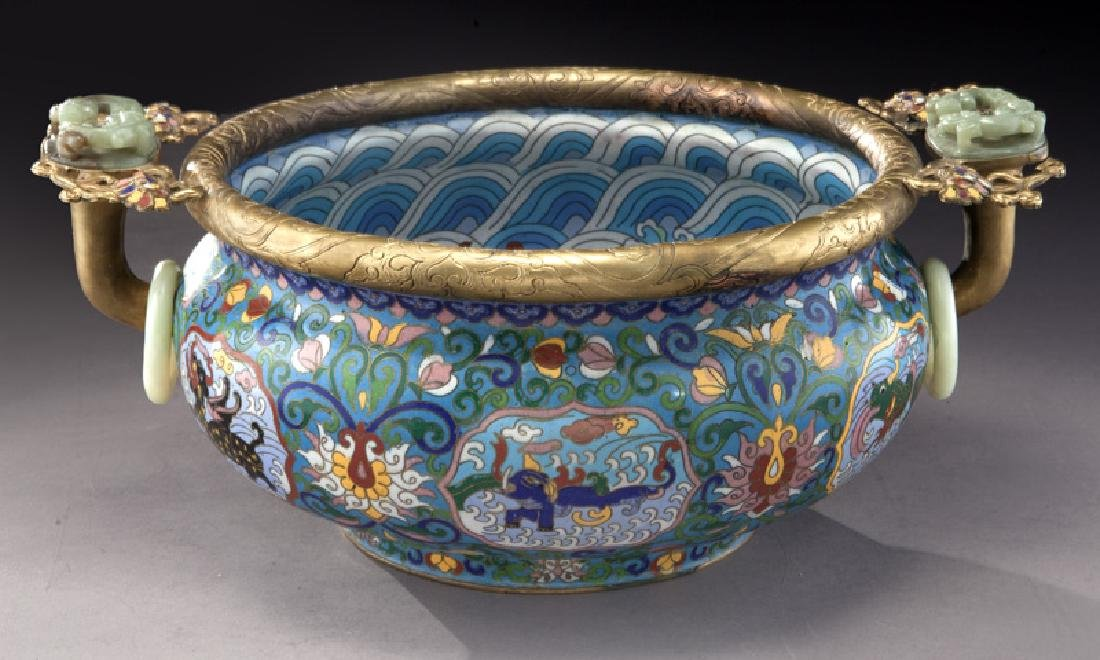 Large Chinese cloisonne bronze mounted