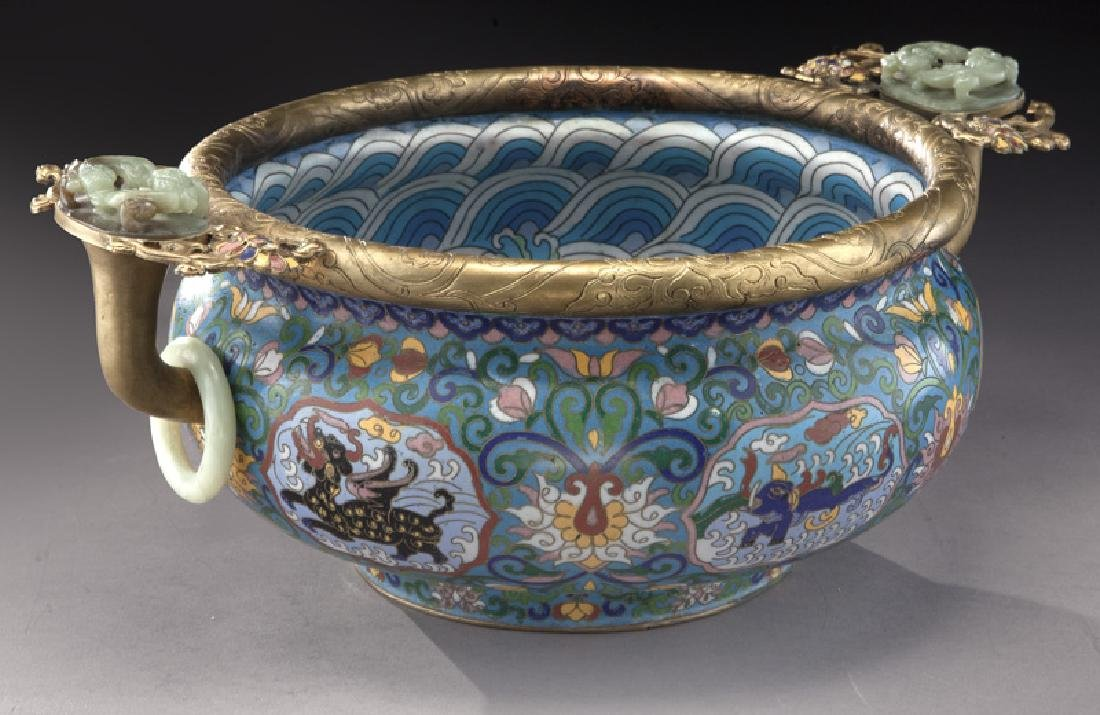 Large Chinese cloisonne bronze mounted - 2