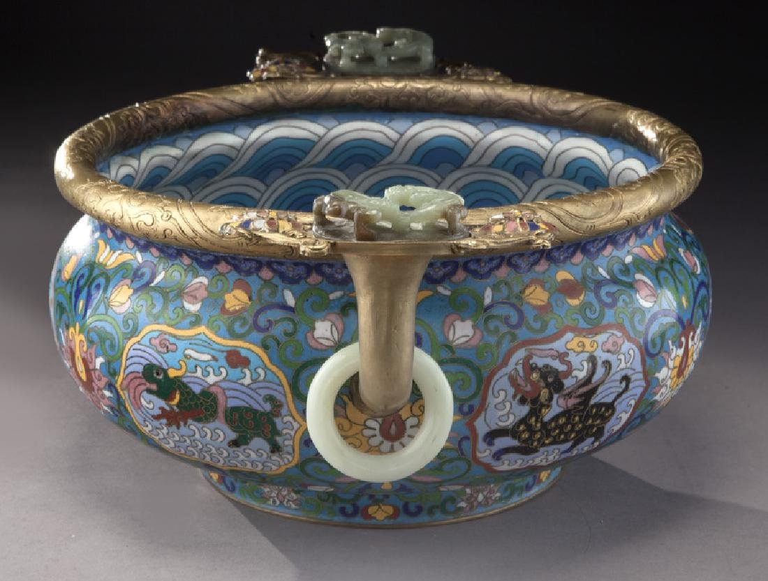 Large Chinese cloisonne bronze mounted - 3
