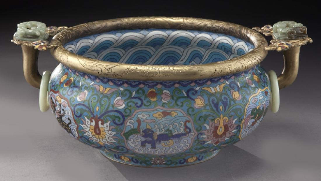 Large Chinese cloisonne bronze mounted - 4