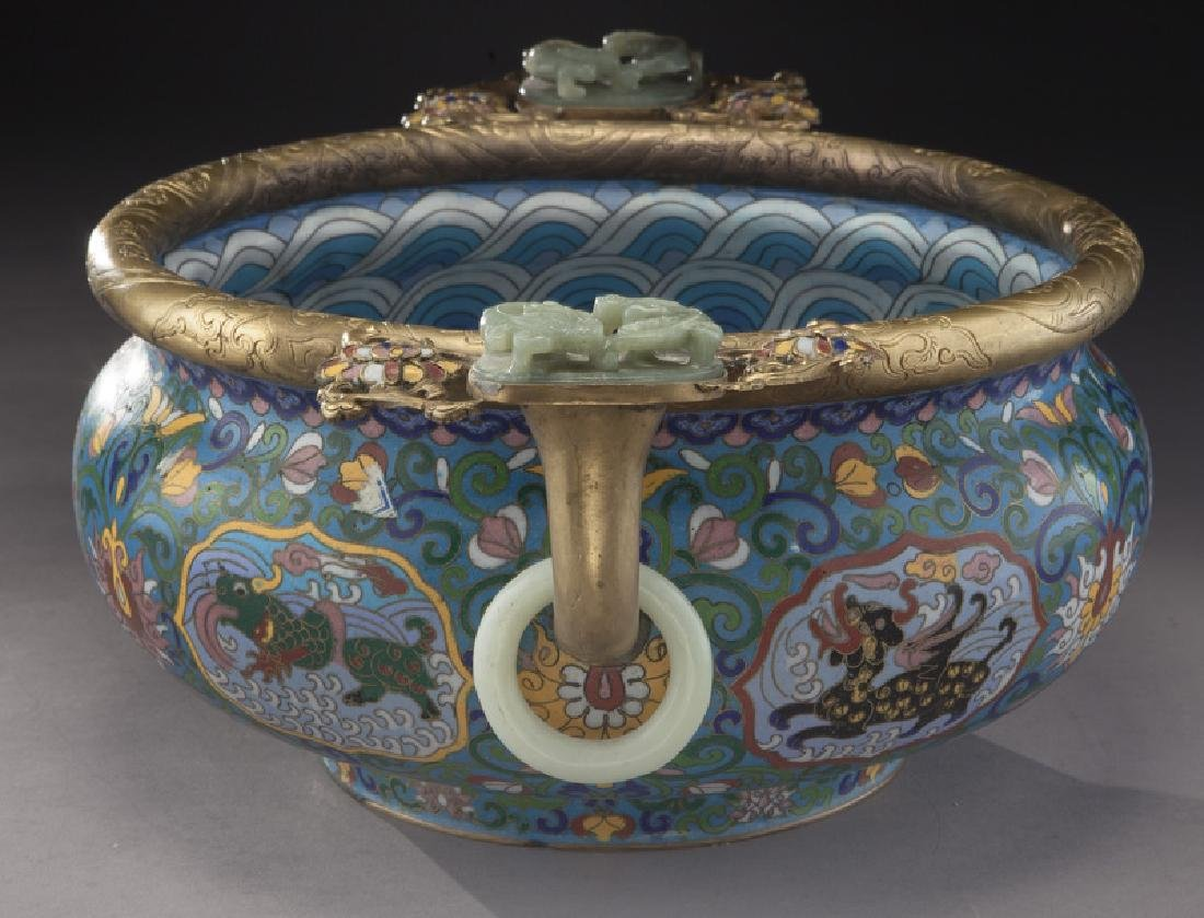 Large Chinese cloisonne bronze mounted - 5