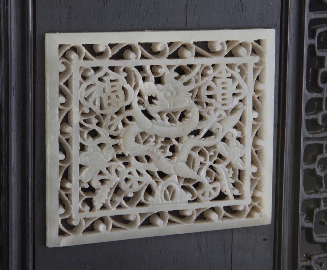 Chinese carved jade plaque in carved wood - 7
