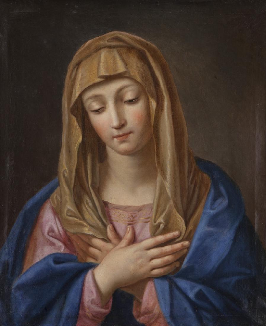 19th C. portrait of Madonna, with downcast gaze,