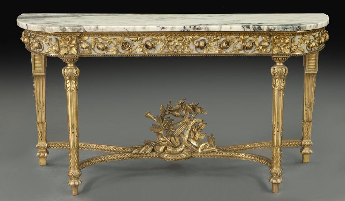 Louis XVI marble top console table,
