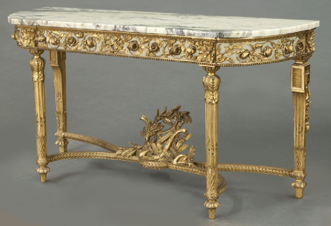 Louis XVI marble top console table, - 2