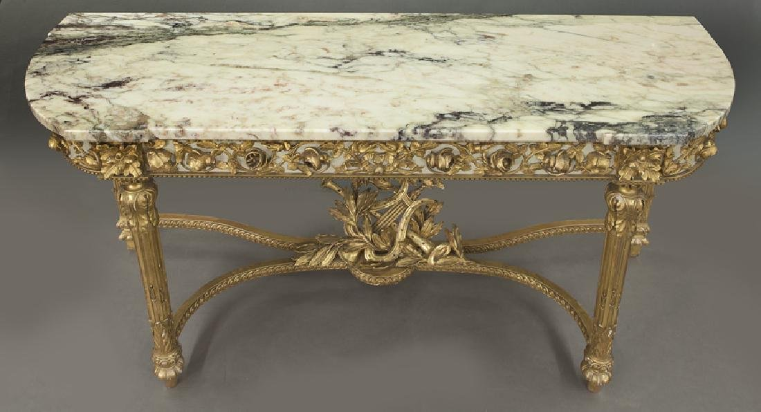 Louis XVI marble top console table, - 6