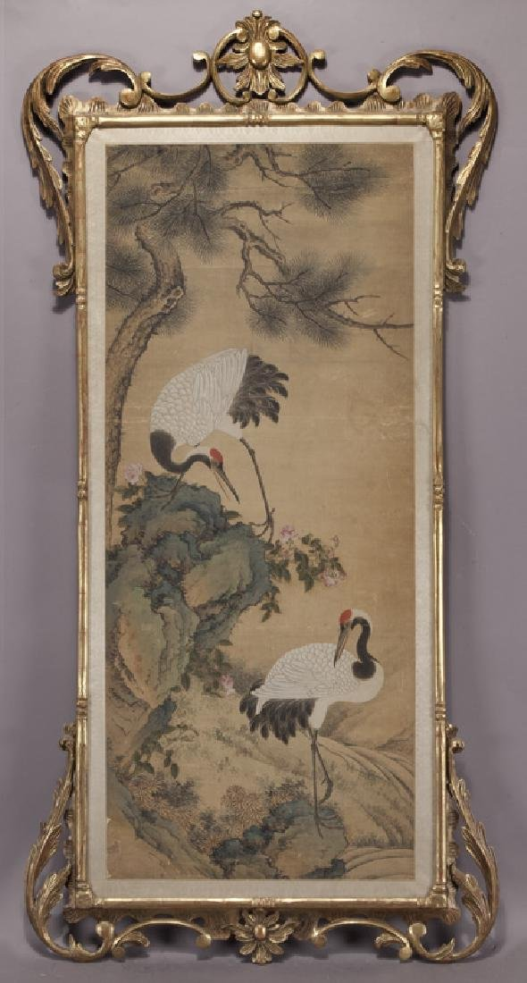 Chinese painting of cranes and pine trees in