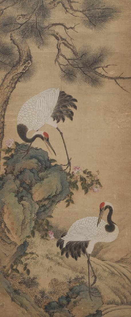 Chinese painting of cranes and pine trees in - 2