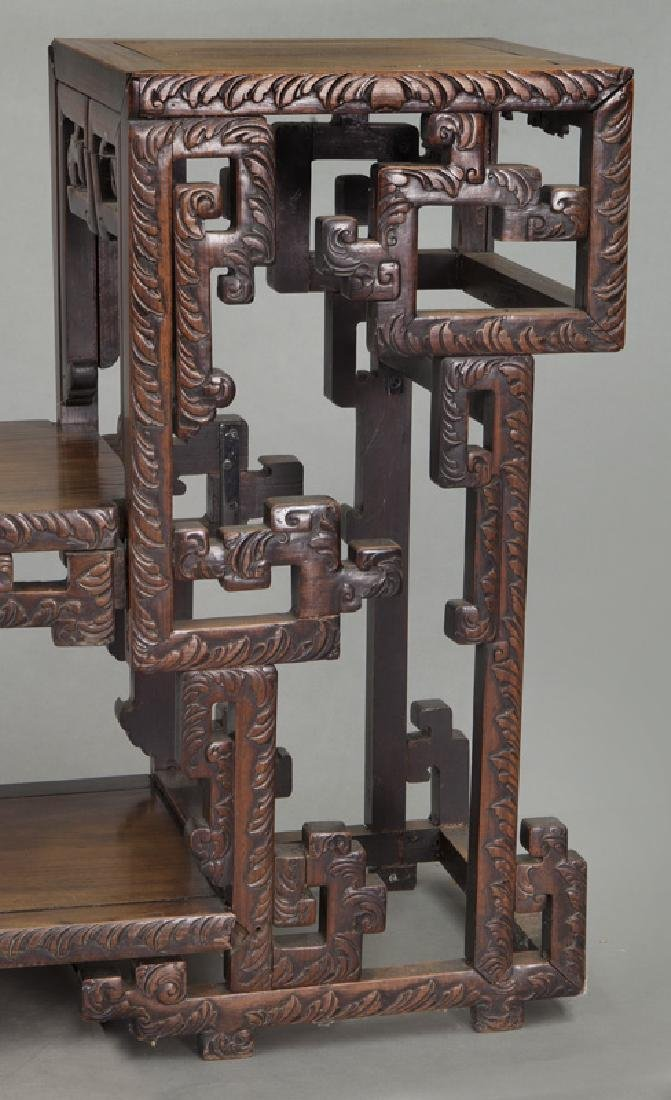 Chinese carved rosewood low 2-tier table. - 10
