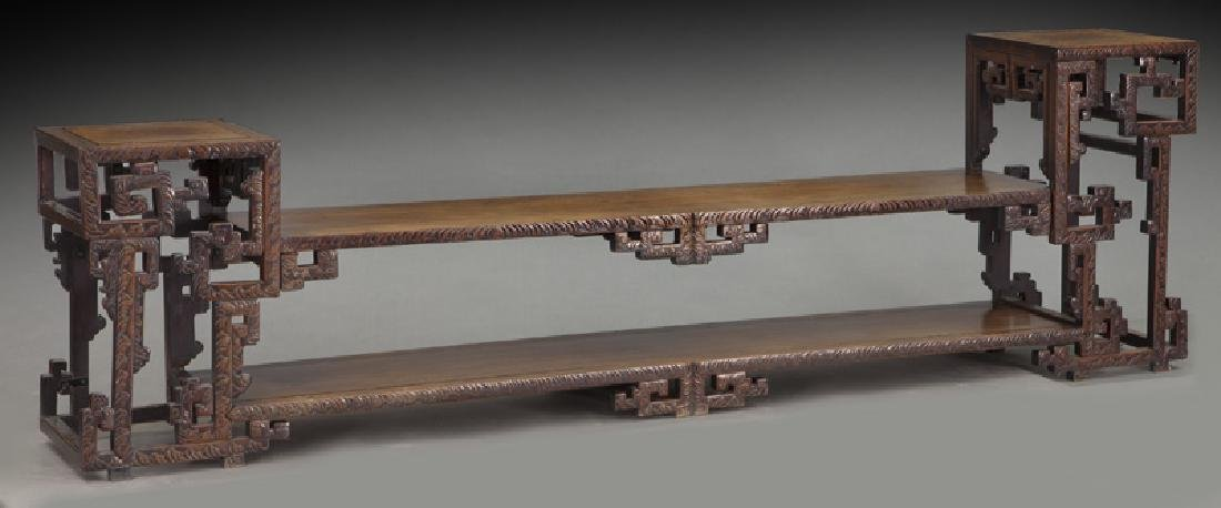 Chinese carved rosewood low 2-tier table.