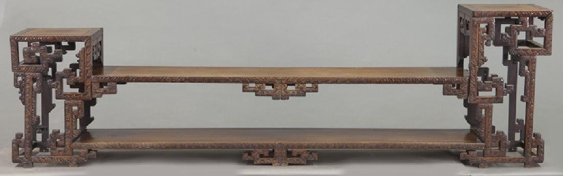 Chinese carved rosewood low 2-tier table. - 2