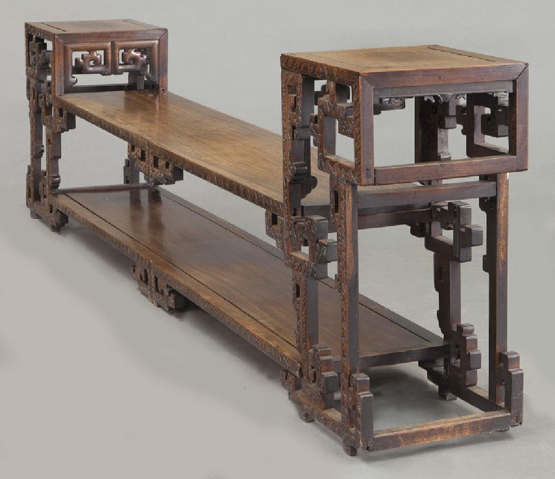 Chinese carved rosewood low 2-tier table. - 3