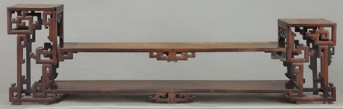 Chinese carved rosewood low 2-tier table. - 4
