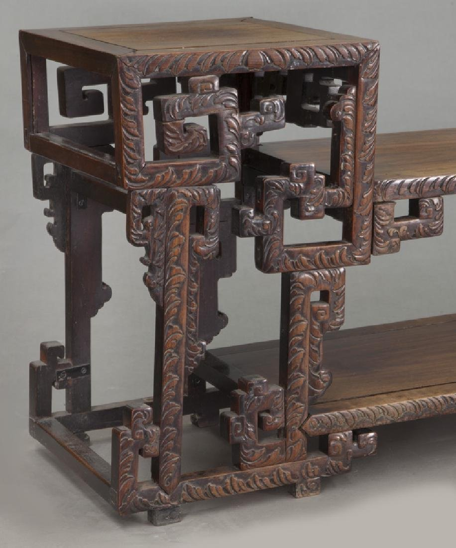 Chinese carved rosewood low 2-tier table. - 6