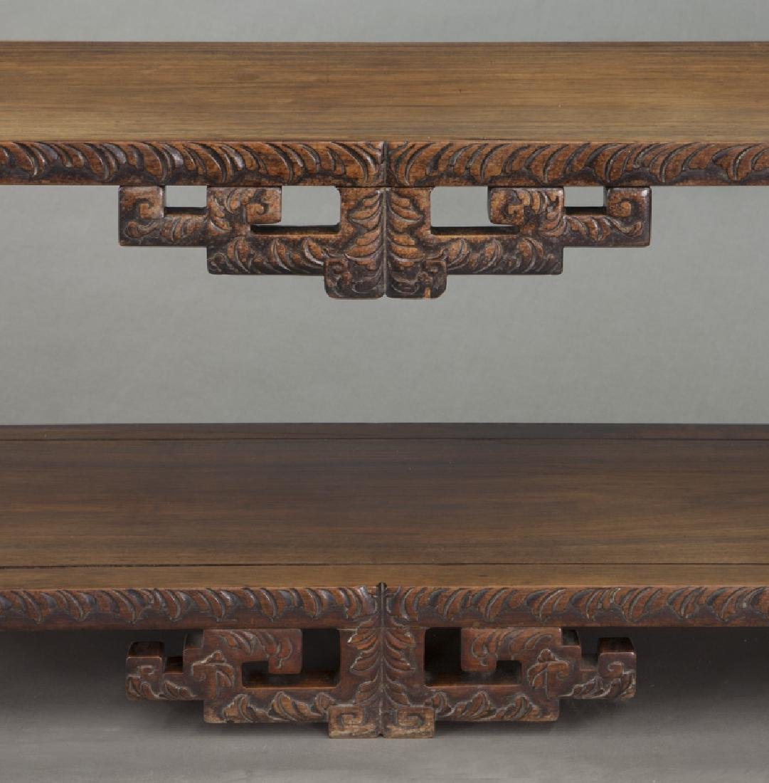 Chinese carved rosewood low 2-tier table. - 8