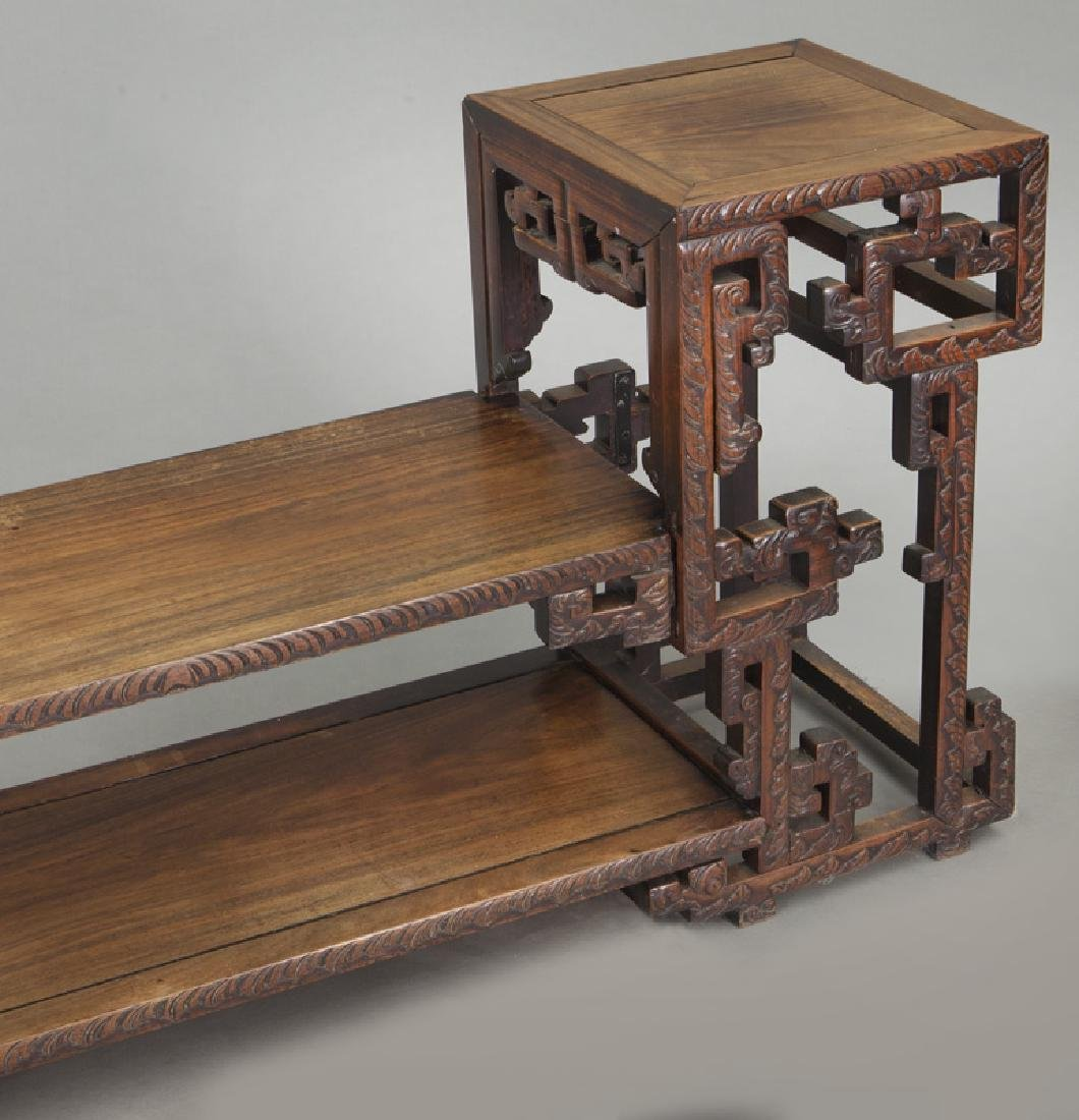 Chinese carved rosewood low 2-tier table. - 9