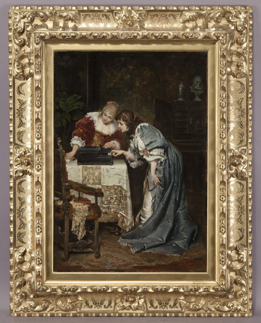 Hermann Vogler interior scene of two young ladies