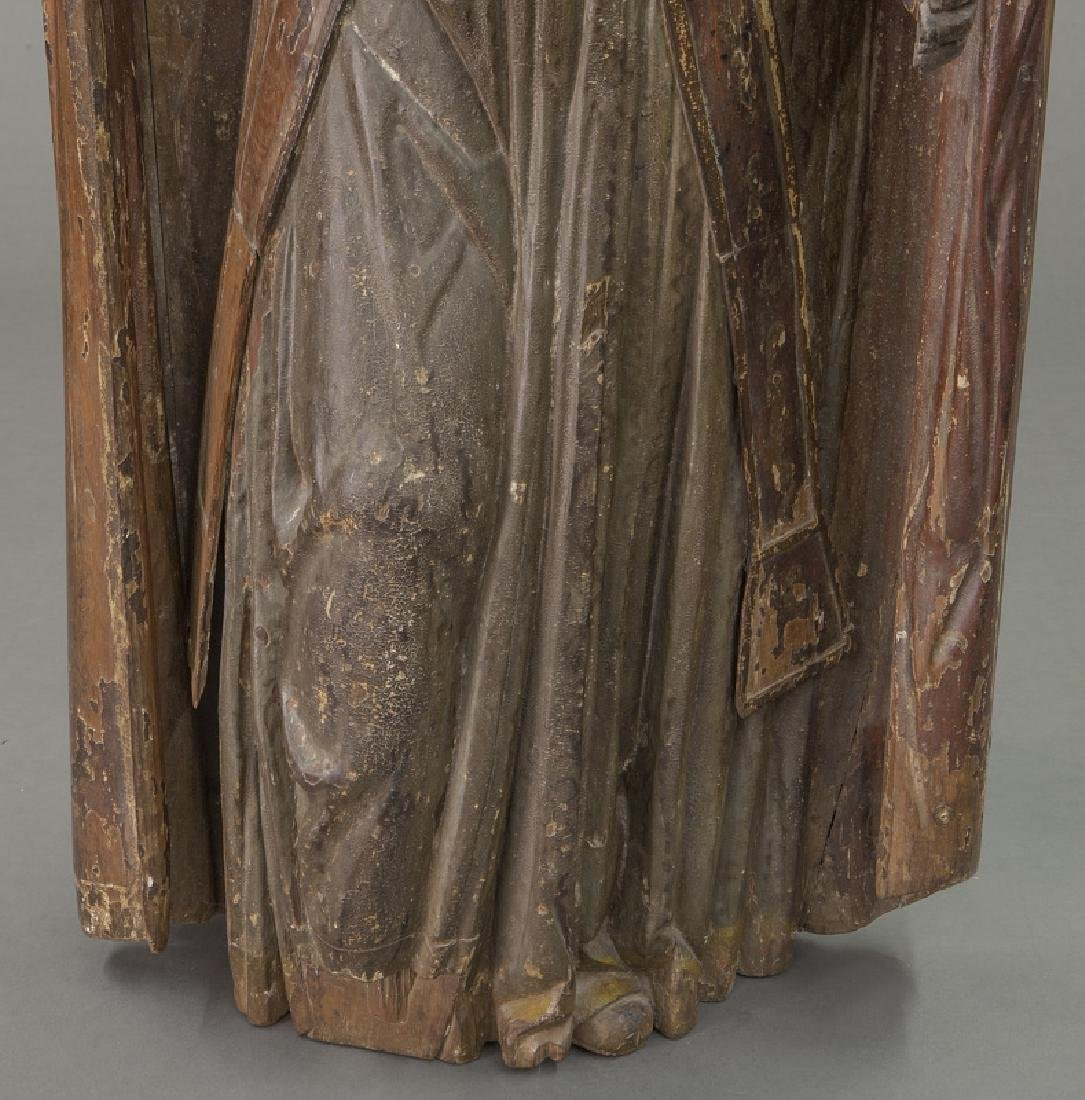 Early carved wood figure of a Bishop Saint, - 10