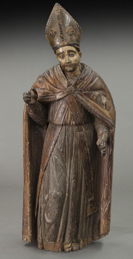 Early carved wood figure of a Bishop Saint, - 2