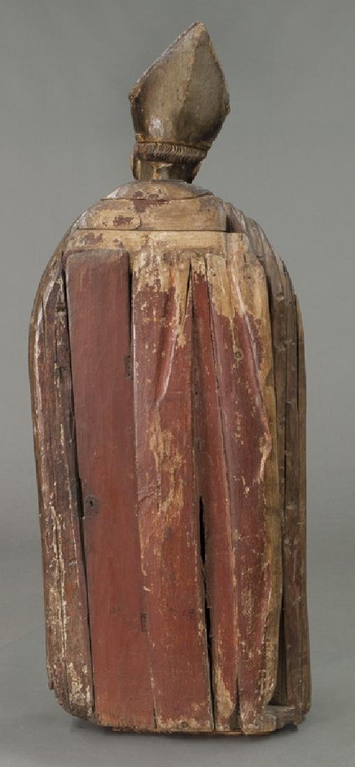 Early carved wood figure of a Bishop Saint, - 4