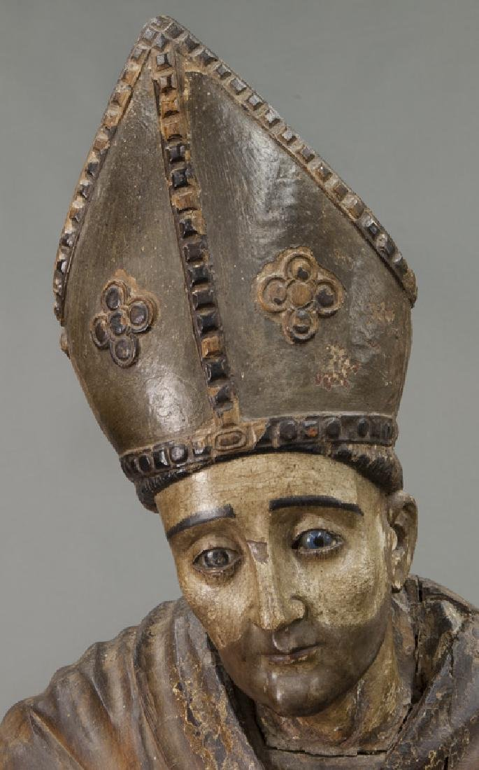 Early carved wood figure of a Bishop Saint, - 7