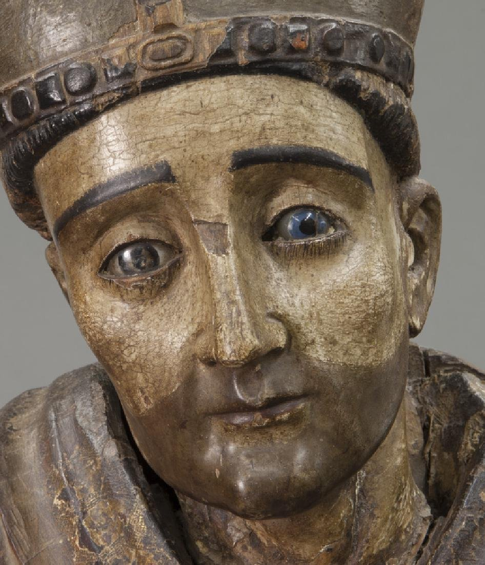 Early carved wood figure of a Bishop Saint, - 8
