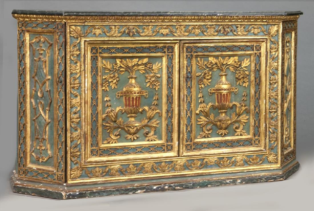 Venetian polychrome decorated credenza, - 2