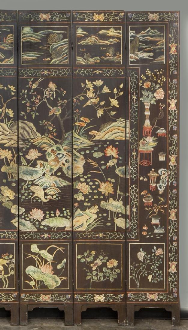 Set of Chinese Qing twelve panel polychrome - 10